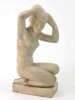 German earthenware figure of a nude female