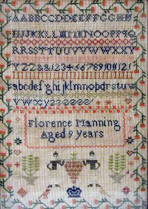 C19th sampler by Florence Manning