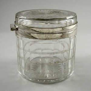 Plated mounted cut glass biscuit box, early 20th century