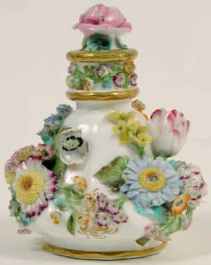 19th Century Floral Encrusted Scent Bottle, possibly Coalbrookdale