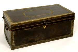 19th Century Leather and Brass Bound Trunk