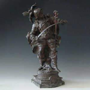 Continental spelter bronze effect figure of a C16th knight, c1890