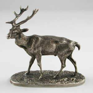 Cast metalware model of a stag, bearing Russian marks
