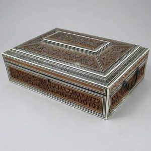 Anglo Indian carved sandalwood and sadeli work box