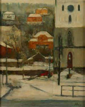 FRANCISCO SILLUE, Impressionist street scene in winter, oil