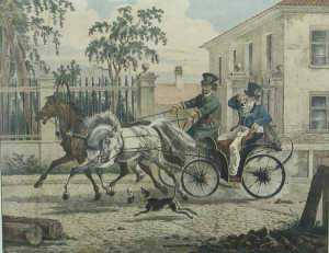 Russian carriage scene lithograph