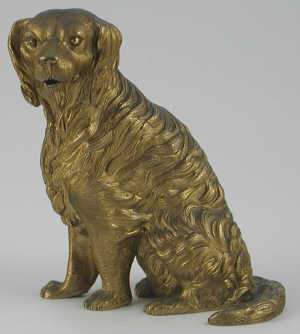Gilt bronze model of a seated dog