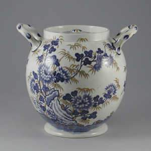 Spode pearlware two handled vase and cover
