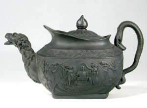 Commemorative black basalt teapot and cover