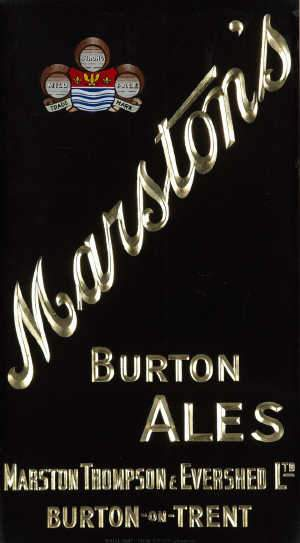 Brass framed sign MARSTON'S BURTON ALES