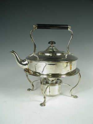 Asprey silver plated kettle on stand