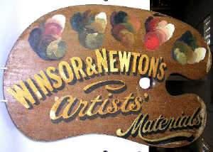 Winsor and Newton mahogany palette advertising sign