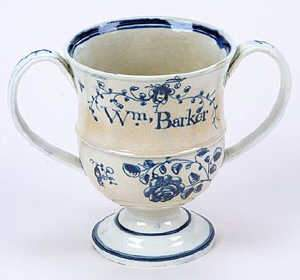 Pearlware commemorative loving cup, c1790