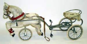 Pedal and chain driven horse and cart, c1960