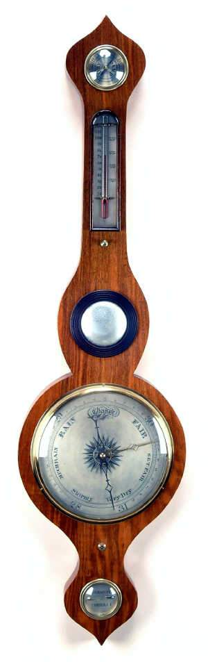Mid C19th pale mahogany wheel barometer