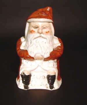 VICTORIAN STAFFORDSHIRE POTTERY 'SANTA CLAUS' JAR