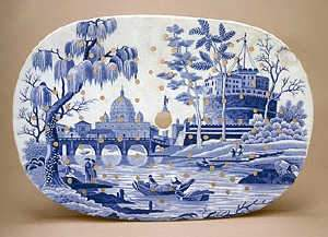 Spode Rome or Tiber pattern oval drainer, c1815-30