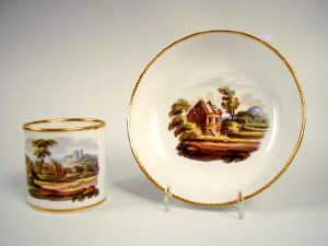 Spode Bute shaped coffee can and saucer, c1815