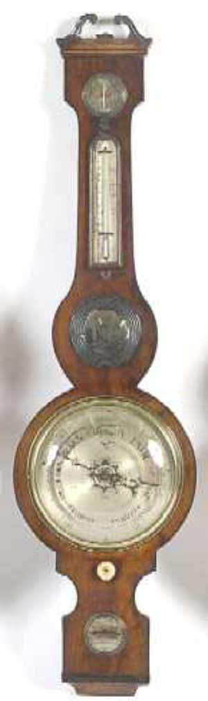 Figured mahogany mercury wheel barometer