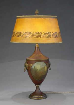 Red and gilt tle reading lamp