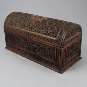 Anglo Indian carved hardwood domed stationery
