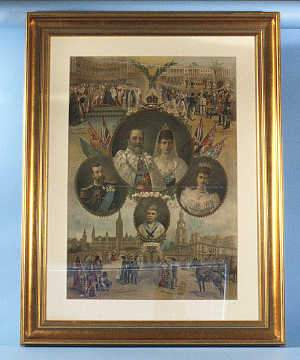 1902 Coronation lithograph depicting The Royal Family