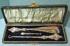 Art Nouveau Victorian Boxed Silver 3 Piece Boot & Button Hook Set