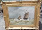 19th C oil on canvas, sailing off a coast