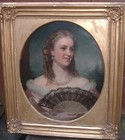 19th C oil on canvas portrait of a young woman