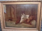 19th century oil on canvas three horses