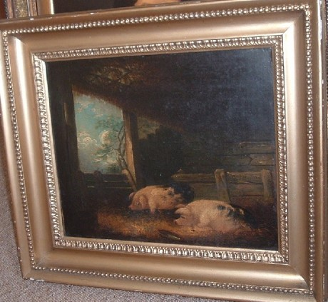 18th C oil on canvas, pigs in a sty