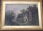 19th C oil on panel Cottages nr Stratford on Avon