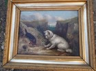 19th C oil on canvas, two Terriers