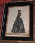 19thC Silhouette, full length portrait of a lady