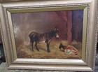 19th C oil on canvas, Donkey & Goat