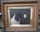 19th C oil on canvas, portrait of a dog