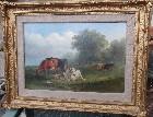 Oil on board, Cows in a river landscape
