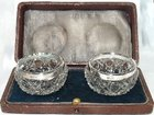 Silver & Glass Salt Cellars. Maker Schlinder & Co. David Loebl