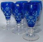 Set of 6 Cobalt Blue Flash Wine Glasses