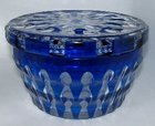 Victorian Cobalt Blue Glass, Lidded Bath Salt Bowl