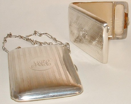 Silver Cigarette Case with Vesta Case.