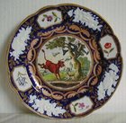 New Hall Porcelain Plate 'Dr Syntax Pursued by a Bull