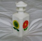 Italian Pop Art Floral Design Milk Glass Bottle