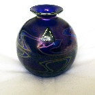 Phoenician Maltese Violet Iridescent Squat Glass Vase