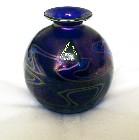 Phoenician Maltese Violet Iridescent Squat Glass Vase