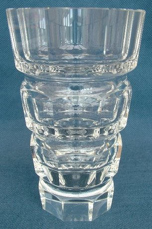 Moser Of Karlsbad Octagonal Cut Glass Vase By Josef Hoffmann 35039 For Sale 20th Century