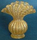 Barovier & Toso 'Cordonato Oro' Small Flared Posy Vase