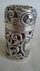 RARE SILVER & CRANBERRY GLASS PERFUME / SCENT BOTTLE