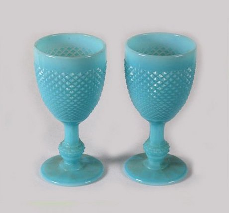 A Matching Pair Of 19th Century Opaline Goblets