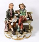 Capodimonte Figurine Of Two Tramps On A Bench